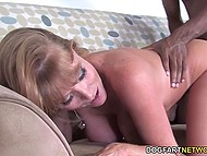 Enterprising MILF deals with big schlong of black guy in stepson's presence to pay off his debt