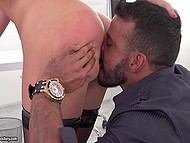 Lustful secretary will let men go to her boss if they fuck blonde's pussy and asshole properly 3