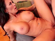 Excited MILF Reagan Foxx with massive baps masturbates pussy and stepson's cock really helps her 8