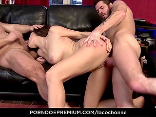 French goddess Eloa Lombard was in mood to try double penetration with bald man and his friend