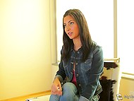 Newcomer Jade Jantzen toys both holes to prepare herself for fun with two partners 4