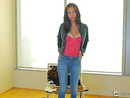 Newcomer Jade Jantzen toys both holes to prepare herself for fun with two partners 6