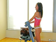 Newcomer Jade Jantzen toys both holes to prepare herself for fun with two partners 7