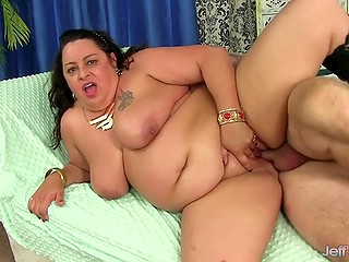 Gray-haired fucker gladly pounds bald fat cunt of his immense guest and cums in her mouth