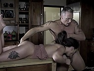 Sexual desire suddenly fills Gia Paige and she deals with muscled stepdad's cock in the kitchen 7