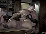 Sexual desire suddenly fills Gia Paige and she deals with muscled stepdad's cock in the kitchen 8