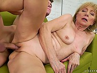 Old woman stops reading to give young lover feet for licking and enjoy cock in vagina