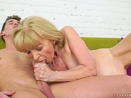 Old woman stops reading to give young lover feet for licking and enjoy cock in vagina 9