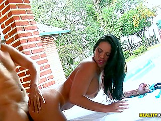 Latina with sexy tan lines chills outside the house and fucker comes to drill her cunt from behind