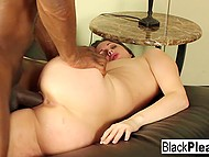 Brunette peach distracts bald black man from working on computer in order to enjoy his huge shaft 11