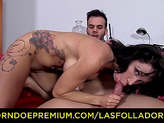 Threesome with colleague and random guy ends for Spanish MILF with huge facial cumshot