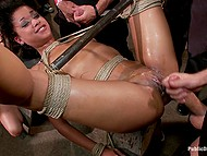 Womanizers and their girlfriends got together in pub and collectively bonked tied up Skin Diamond