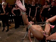 Womanizers and their girlfriends got together in pub and collectively bonked tied up Skin Diamond 3