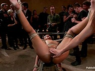 Womanizers and their girlfriends got together in pub and collectively bonked tied up Skin Diamond 7