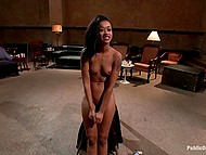 Womanizers and their girlfriends got together in pub and collectively bonked tied up Skin Diamond 8