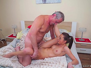 Young brunette has relationship with old man for two reasons: money and his fucking skills