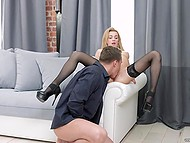 Client of splendid courtesan in stockings has two wishes: to lick her pussy and fuck it from behind 5