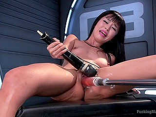 Fucking machine satisfies pussy of Japanese MILF Marica Hase who takes big vibrator for brighter orgasm