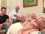 Blonde MILF with huge breasts is assfucked in husband's presence and her anus is creampied