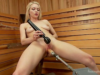 Girl spreads legs and fuck-machine fucks her non-stop making reach orgasms one by one