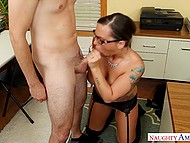 Nervous boss needs to relax and she decides that sex with young employee is the best way to do it 4