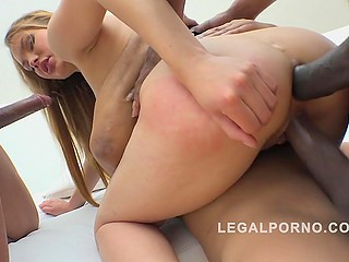 Indiscriminately sexually active girl honorably receives several big black cocks in her holes