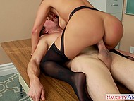 Licentious female gives up and trusts brutal student with her tender trimmed pussy 10