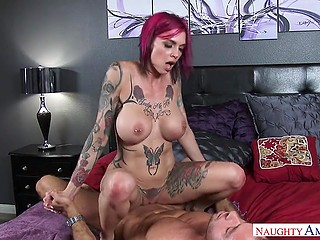 Suggestive Anna Bell Peaks sees young man is big enough to try penetrating her vagina