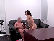 Agent ejaculates on pretty face of young brunette who came to his studio for dirty sex 5