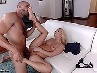 Brutal man with bristle is attracted to Aaliyah Love's wonderful feet and he doesn't lose the chance to lick them