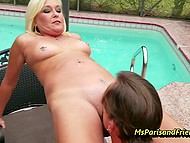 Mature housewife in stockings strips for horny neighbor and gives him her shaved cunt 7