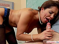 Full-bosomed history teacher Francesca Le worships young student's cock in the classroom 4