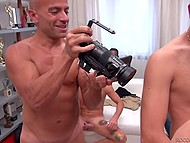 Hungry blonde gladly takes part in blowbang with four guys as she wanted to taste cum 6