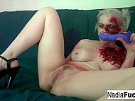 Cute Nadia White is the kind of zombie that needs no brains but sex-toy to masturbate