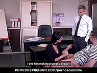 Inviting MILF gives her holes to student and dean allowing them to get it on in every way 10