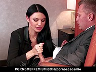 Inviting MILF gives her holes to student and dean allowing them to get it on in every way 5
