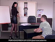 Inviting MILF gives her holes to student and dean allowing them to get it on in every way 9