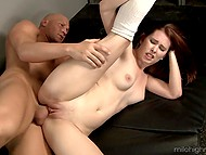 Flexible redhead interrupts usual stretching to have dirty sex with bald fitness coach