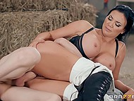 Imperious jockey with great tits Jasmine Jae forced skinny stable boy to drill her ass 8