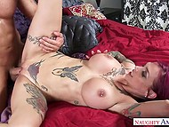 When passion seizes Anna Bell Peaks' mind, she goes wild bonking with tough young man 9