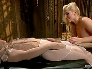 Natural-tittied chick is irresistible exposing perfect body and straponing tied up boyfriend 3