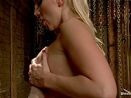 Natural-tittied chick is irresistible exposing perfect body and straponing tied up boyfriend 5