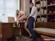 Only sex with future boss helps smoking-hot blonde obtain job in this prestigious company 7