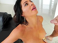 Geek guy came to fix cougar's computer but she was in mood for dirty sex on the couch 11