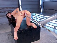 Japanese woman Marica Hase secludes herself in one of the starship rooms to satisfy pussy using fucking machine