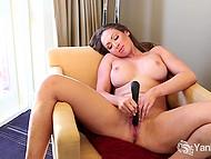 Australian MILF Yasmin Scott with massive tits satisfies herself skilfully using black vibrator 7