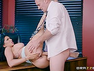 Co-worker is going to report on Romi Rain's mistake and busty brunette serves his big cock to convince man not to do it 7