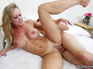 Young guy turns on Brandi Love so much that she takes his cock in vagina secretly from husband
