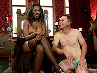 Ebony goddess with hefty breasts orders white slave to lick her pussy and brings vibrator into play 11