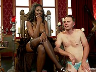 Ebony goddess with hefty breasts orders white slave to lick her pussy and brings vibrator into play 9